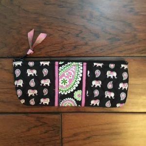 Vera Bradley Pink Elephants Makeup Pencil Case